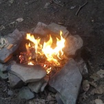 Leafs were put on the fire to create the smoke