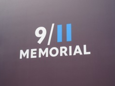 The 9/11 memorial logo to the entrance to the site