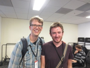 Myles with the very tall Hank Green of SciShow