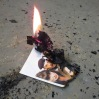 Burning the signed Simon Pegg Spaced picture