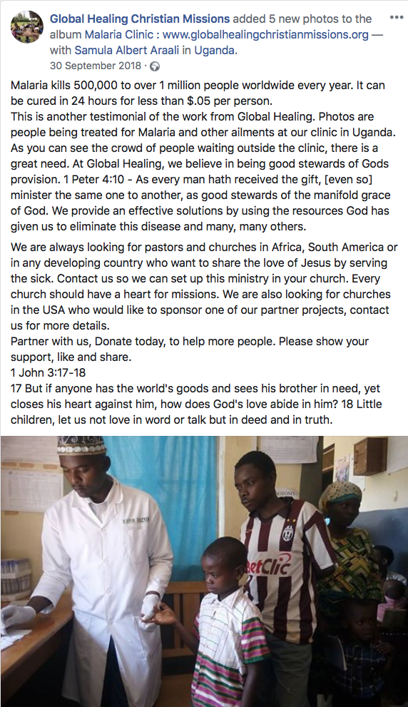 Global Healing Christian Missions Facebook Post 1