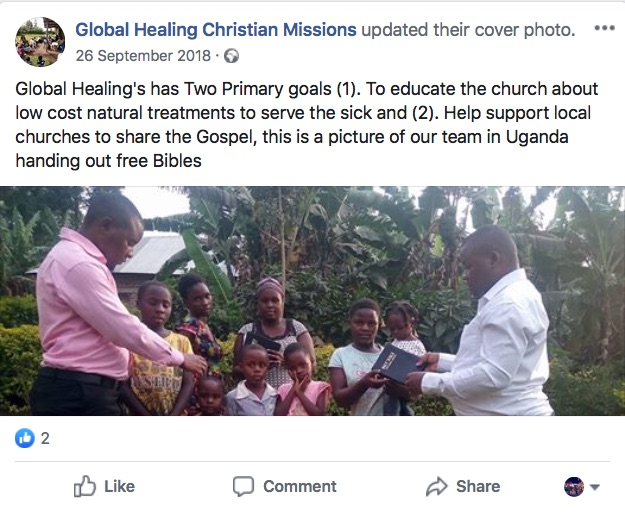 Global Healing Christian Missions Facebook Post 7